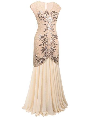 PrettyGuide Damen 1920er Lange Ballkleid Pailletten Flapper Formelle Abendkleider Champagner