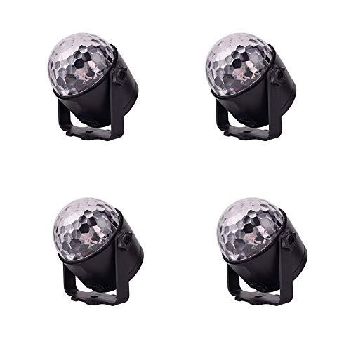 Vinmin 4-Pack Party Lights Disco Ball Party Lights, LED-Bühnenbeleuchtung 6 Farben Sprachsteuerungsfunktion Fernbedienung Rotary Stage Lamp Crystal Magic Ball