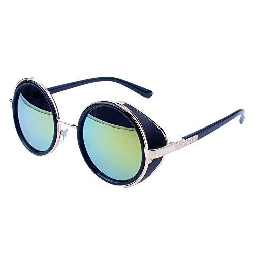 WooCo Reise Sonnenbrillen für Herren Damen, Runde Mode Vintage Retro Brille, Förderung Unisex Aviator Spiegel Objektiv Sonnenbrille(H,One size)