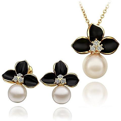 NYKKOLA–Elegante oro 18K Placcato Gioielli CZ Cristallo Perla trifoglio ciondolo collana e orecchini set di (Perla Del Trifoglio)