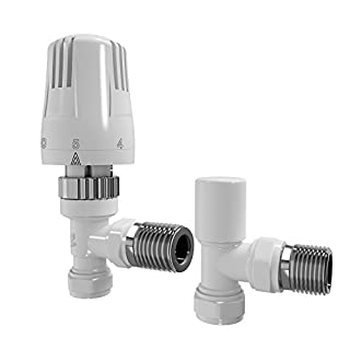 iBathUK | White Thermostatic Angled Radiator Valves TRV T15mm Central Heating Taps RA32A