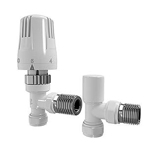 Soak Válvula y termostato de 15mm en ángulo para radiador. Color blanco brillo.