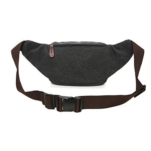 MeCooler Bauchtasche Sport Bag Gürteltasche Herren Hüfttaschen Vintage Geldbeutel Brusttasche Sporttasche Canvas Reisetaschen Outdoor Trinkgürtel Tasche Schwarz
