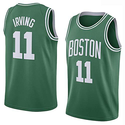 Kyrie Irving # 11 Herren Basketball Jersey - NBA Boston Celtics, Besticktes Swingman Trikot Ärmelloses T-Shirt,Green-XS