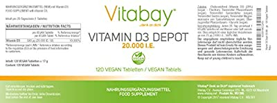 '20,000 IU Vitamin D3 Only A Vegan Tablet/20 days