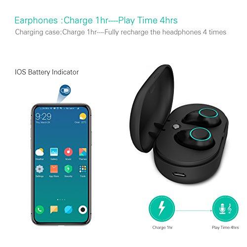 Holyhigh Bluetooth Kopfhörer Bluetooth Headset V5.0 Stereo-Minikopfhörer Sport IPX6 Wasserdicht Kopfhörer in Ear mit Ladekästchen und Integriertem Mikrofon für iPhone Android Samsung iPad Huawei HTC - 3