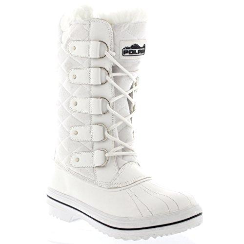 Femmes Matelassé Pluie Lacer Fourrure Chaleureux Chaussures Neige Botte Blanc Suède