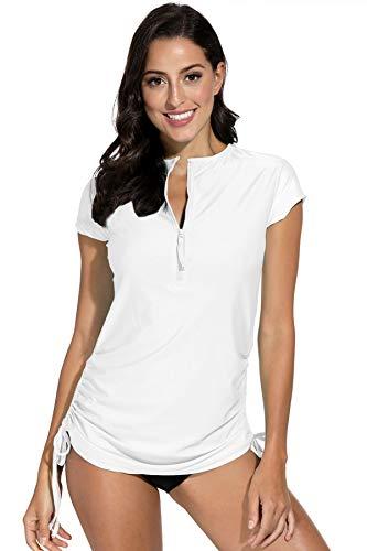 BesserBay Damen Bademode Rash Guard UV Shirts Kurzarm Surf Shirt Schwimmen Tankini Badeshirts UPF 50+, 40, Weiß