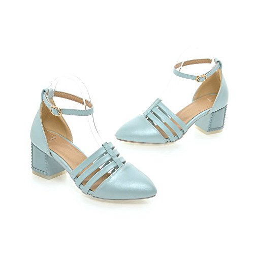 AgooLar Femme Pointu Boucle Pu Cuir Couleur Unie à Talon Correct Chaussures Légeres Bleu