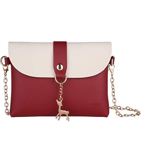 Lanling Kleine Crossbody Geldbörse für Frauen,Leder Umhängetasche Hirsch Crossbody Frauen Handtasche kleine Geldbörse Telefon Tasche für Mädchen (Rot-Gold Chain)