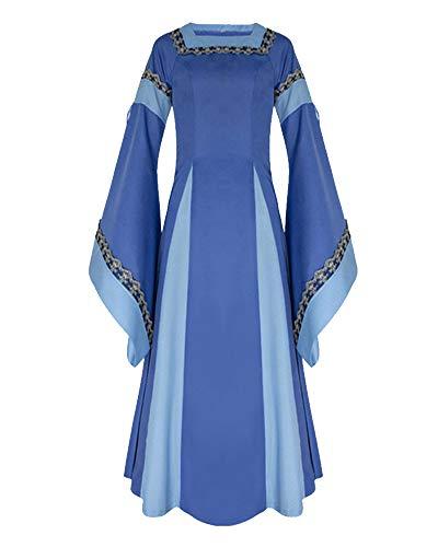 Donna vestito a maniche lunghe di halloween costume medievale vestito completo costume di halloween blu s