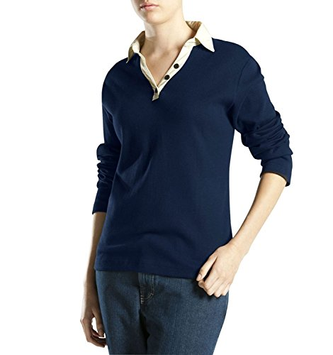 Damen Johnny Kragen Shirt, Navy, Xtra Small -