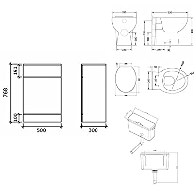 VeeBath Linx Bathroom Furniture Combination Set with Vanity Basin Cabinet, WC Toilet Unit, Pan & Cistern Pack - 1050mm