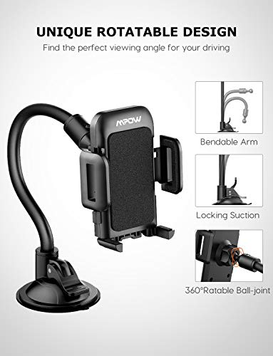 Car Phone Mount, Mpow Windscreen Car Phone Holder Grip Flex Universal Windshield Car Cradle with Extra Dashboard Base Long Arm Holder for iPhone Xs Max/Xs/Xr/X/8/7/6s Plus, Samsung S10/S9 Note LG,etc