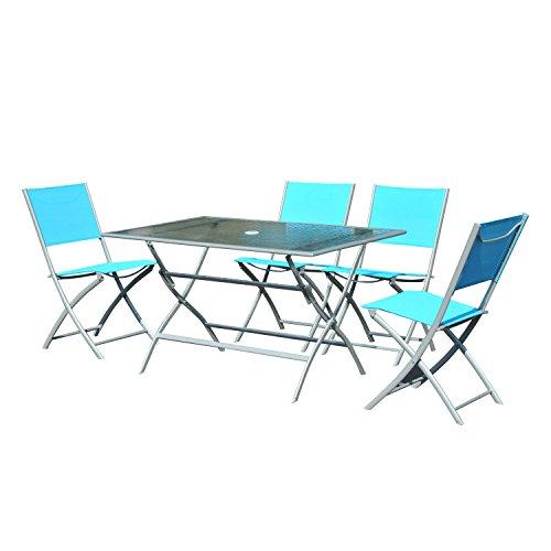 Outsunny® Camping Sitzgruppe Campingtisch Picknicktisch Garten 5 tlg Blau (Camping-stuhl Sonnenschirm)