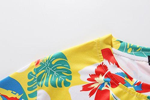 SSLR Herren Crew Hals Kurzarm Casual Tropisch Hawaii Shirt Gelb