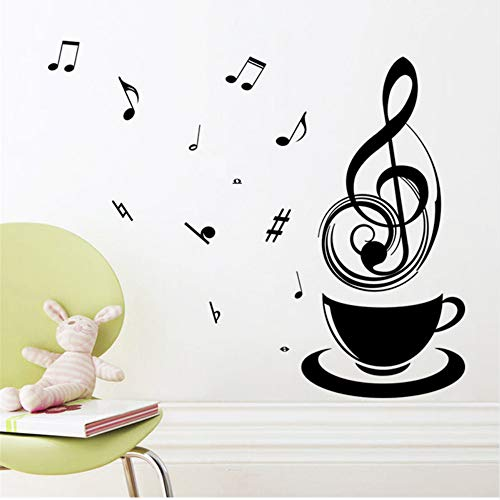 Zxfcczxf Kaffee Musik Hinweis Tassen Cafe Tee Wandaufkleber Kunst Vinyl Aufkleber Küche Restaurant Pub Home Decor Wandbild Tapete Entspannen Mom Geschenk 60 * 70 ()