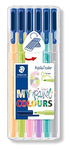 STAEDTLER 323SB6CS01ST triplus color Fasermaler (ergonomische Dreikantform, stabile Spitze, leicht auswaschbar, Etui mit 6 farblich sortierten Fasermalern My pastel colours, Strichbreite 1,0 mm)