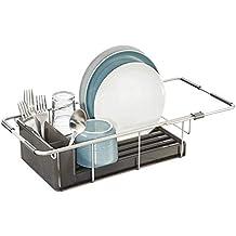 mDesign escurreplatos de encimera con cesta para cubiertos - Práctico escurridor de vajilla de aluminio inoxidable
