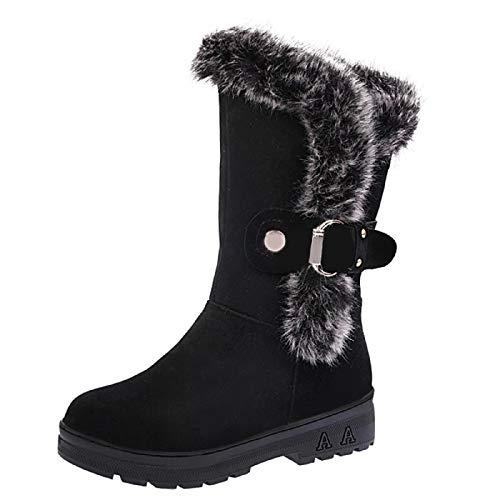 WWricotta Damen Winterschuhe Schneeschuhe Warme Schuhe Outdoor Freizeitschuhe Warm Gefüttert Schneestiefel Flache Schuhe Plateauschuhe -