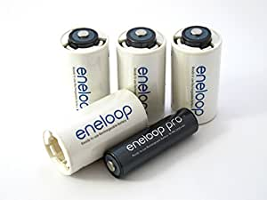 Panasonic pro piles niMh aA-lot de 4–2450mAh avec 4 adaptateurs (c)
