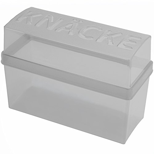 Knäckebrotdose hellgrau/weiß transparent, 1 Stück