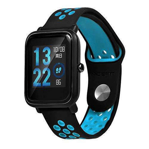 Lomire Correa de Muñeca Silicona de Reloj 22mm Universal Pulsera Impermeable Ligero Ventilar para Huami Amazfit Bip Youth Watch para Hombre y Mujer, Azu