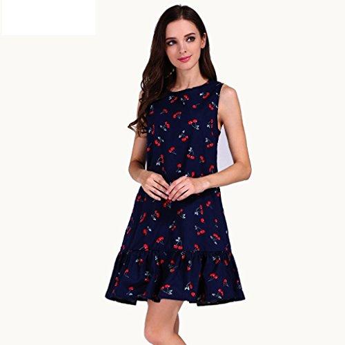 robe femme, Transer ® Les femmes sans manches volants Sexy robe été Casual une ligne robe de soirée Bleu foncé