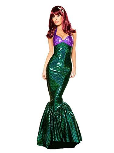 Party Cosplay Kostüm Adult Bikini Meerjungfrau Kleid (Deep Green, M) (Meerjungfrau Halloween Kostüm Für Baby)