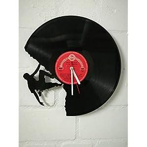 Wanduhr aus Vinyl Schallplattenuhr mit Kletterer/Climber Motiv upcycling design Uhr Wand-deko vintage-Uhr Wand…
