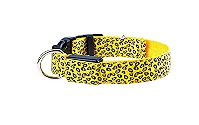 niceEshop(TM) Leopard Muster Einstellbar LED Lichter Hund Halskette Halsband