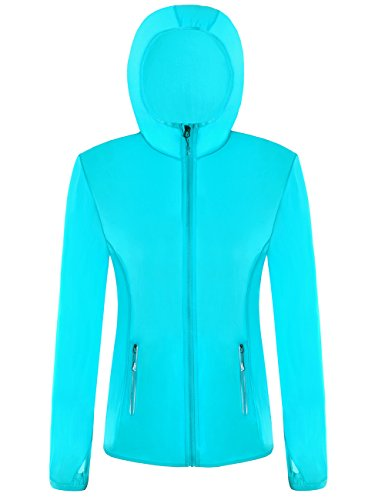 MotoRun Fahrradregenjacke Damen Thin Windjacke Fahrradjacke Zip Hoodie Outdoor Jacke Anti-Uv funktionsjacke Coat Radfahren Sweatshirt für Frauen (01Blau, S)