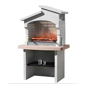 Big K Boavista maçonnerie Barbecue-Medi Blanc Pierre Barbecue à Charbon pour Barbecue-Big K-Réservoir à cendres-Garden Barbecue-étagère du bas en Bois, charbon pour Barbecue