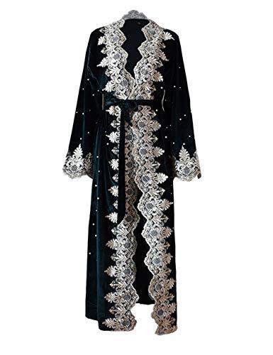 Zhhlaixing Moda Terciopelo Abaya Kimonos Batas - Encaje