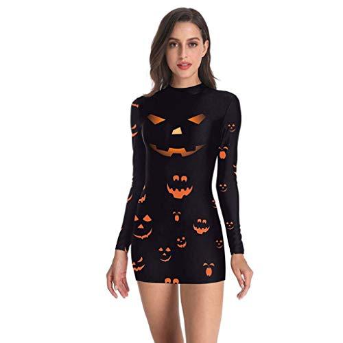 Riou Halloween Kostüm Damen kürbis Skeleton Party Cosplay Kostüm Mini Kleid Langarm Karneval kostüm - Heidi Klum Kostüm