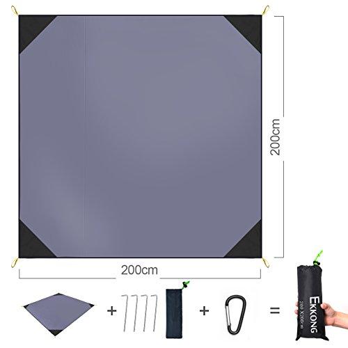 EKKONG Picknick-decke, 100% wasserfeste Picknickdecke - Portable Premium Pocket Blanket - ideal für Reisen, Camping und Festivals (200 x 200cm, Grau)
