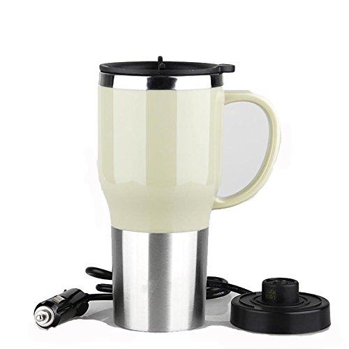 Preisvergleich Produktbild huanlebao Tragbarer Beheizter 12/24V KFZ Wasserkocher Edelstahl Tasse Auto Kaffeetasse mit Ladegerät 450ml, weiß, 12V