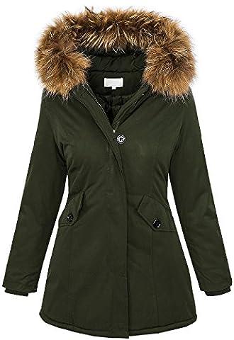 Damen Echtfell Winter Jacke Parka Kapuze Designer Damenjacke Outdoor [D-204 - Khaki - Gr. M]