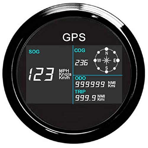 Wasserdichter Tachometer für Boot, Auto, digital, LCD-Geschwindigkeitsmessgerät, Kilometerzähler, Kurs, mit GPS-Antenne, 9-32 V