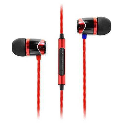 SoundMAGIC E10C - HiFi In-Ear-Kopfhörer mit Mikrofon und 3-Tasten-Fernbedienung, Schwarz/Rot (Beats Remote)