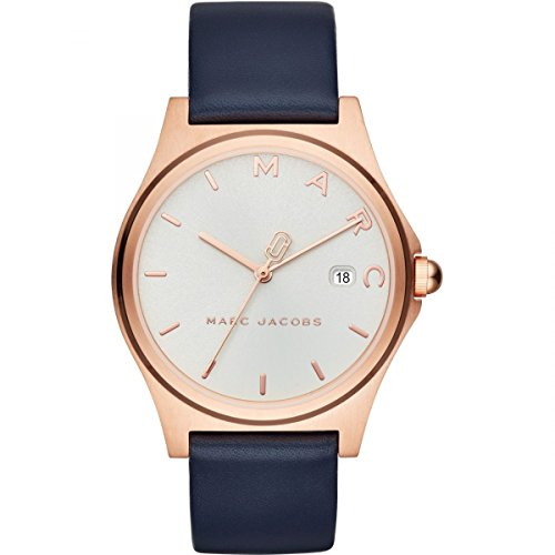 Marc Jacobs MJ1609 Ladies Henry Blue Leather Strap with Rose Gold Dial Watch