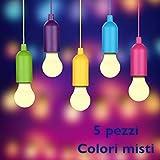 Lampada LED colorata portatile multiuso con cordicella. Colori misti. Per campeggio, escursionismo, pesca, giardino, garage, armadio. Da interni ed esterni, decorativa. Vista in TV. (5)