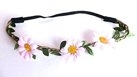 Réf1Z05 BAN.01 - Accessoires Cheveux - Headband Bandeau Cordon Tressé - Couronne de Fleurs Marguerites Rose