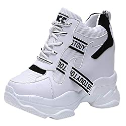 Sportschuhe Damen Sneakers Wedges Freizeitschuhe mit Keilabsatz Atmungsaktiv Mesh Turnschuhe Erhöht Einlegesohle Laufschuhe Outdoor Bequeme Plateauschuhe (EU:38, Schwarz)