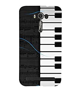 Fiobs Designer Back Case Cover for Asus Zenfone 2 Laser ZE500KL (5 Inches) (Piano Keys Keyboard Casio Black White)
