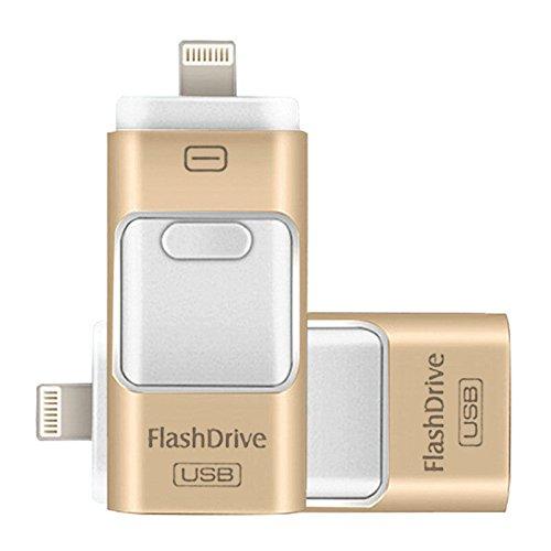 Rgbs USB Flash Drive con connettore Lightning Android/foto e musica memoria esterna di archiviazione bastone di espansione per Apple iPod iPhone iPad cellulare computer Mac PC portatile oro Gold 64 Gb