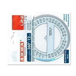 Arda – Goniometro a 360 ° 12 centimetri linea uni – regola (polistirolo, trasparente, 120 mm)