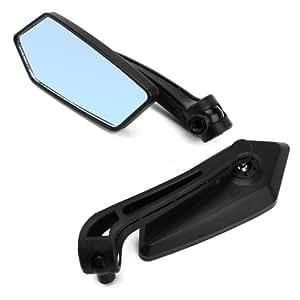 Pair Retroviseurs noir miroir reflet bleu pour Moto Scooter bande roulement vis 8mm 10mm M8 M10 rotation ajustable