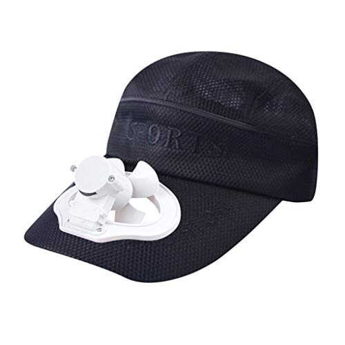 Sonnena Cool USB-Aufladen Fan Baseball Kappe Unisex, Sunday Frauen Baseball Cap Snapback Hut Hip-Hop Einstellbar Outdoor Sports Pure Farbe Hüte Campen und Wandern Baseballkappe
