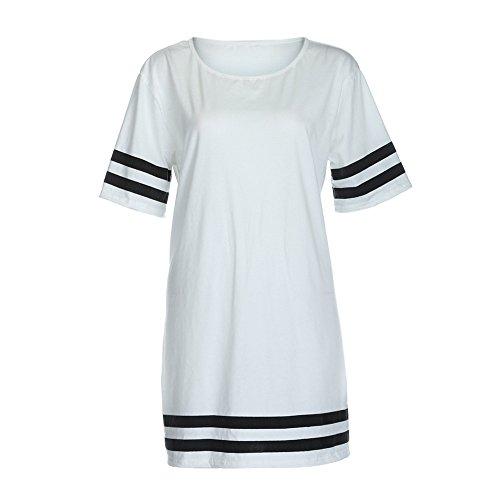 Longra La camicetta delle donne del cotone mescola la camicetta a strisce del bicchierino del manicotto della decorazione a strisce Bianca